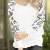 White V-Neck Leopard Print Sleeve Sweatshirt