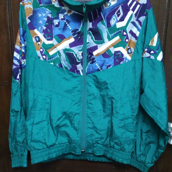 Rare vintage HOUSTON HOUSE multicolour abstract baroque print luxury style hip hop swag bomber jacket size medium