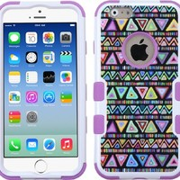 Iphone 6 case, Slim Fit IPhone 6 (4.7 inch) Hybrid Triple Layer Tuff Verge Merge Shield Heavy Duty Hard Cover Fitted Skin Case Protector + Clear LCD Screen Protector Shield Guard + Touch Screen Stylus Pen (Purple Swag Tribal)