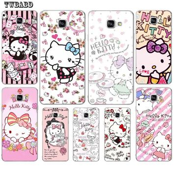 Case For Fundas Samsung Galaxy S9 S8Plus A3 A5 A7 2016 J3 J5 J7 2017 Cute Hello Kitty Cat shell for S6 S7 S7Edge A8