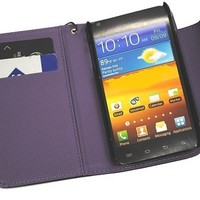 Purple Deluxe Folio Ultra Wallet Leather Case with Credit Card Holder and Magnetic Closure for T-mobile Samsung Galaxy S2 T989
