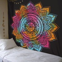 Cilected Black Colorful Mandala Tapestry Wall Hanging Indian Mandala Wall Tapestries For Home Decor Mandala Wall Art 148X200Cm