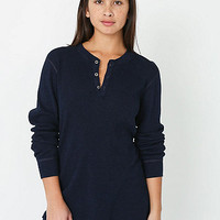 Unisex Indigo Thermal Long Sleeve Henley
