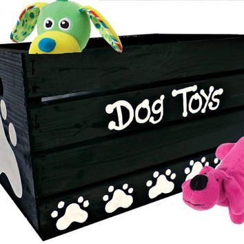 Dog Toy Box Hand Painted Puppy Toy Chest - Large Breed