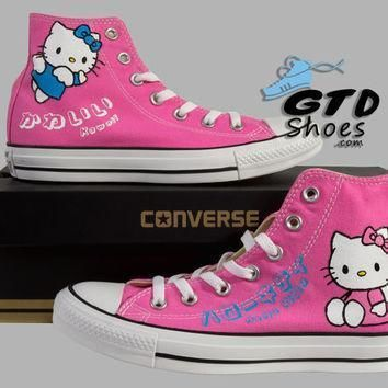 hand painted converse hello kitty sanrio anime kawaii pink handpainted shoes
