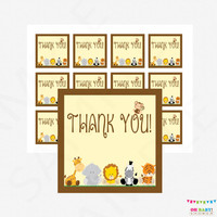 Safari Baby Shower Favor Tags - Thank You Favor Tags Baby Shower, Jungle Baby Shower Favors, Safari Baby Shower Decor, Gift Tags BS0001-N