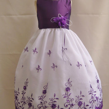Flower Girl Dress Organza Embroidery Girl Dresses Wedding Summer Christmas Easter Recital Pageant Bridesmaid Communion Church Toddler Cheap