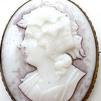 Dionysus Molded Glass Cameo Brooch Victorian Gold Filled