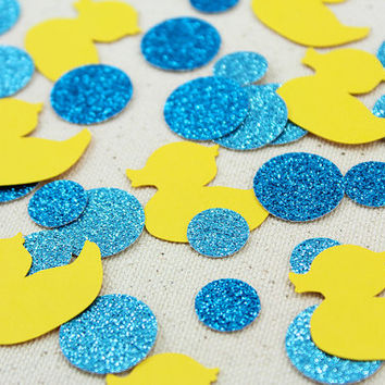 Rubber Ducky Bubble Bath Glitter Confetti - 125 pieces - Baby Showers, Table confetti, Party Decorations