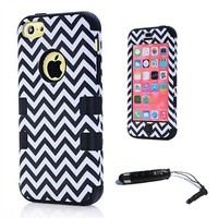 ATQ Wave Pattern PC and Silicone 3 in 1 Phone Case Cover for 5C Soft Rubber Case For IPhone5C