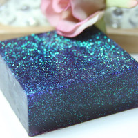 Lavender Scented Soap, Aloe Vera Soap, Glitter Soap, Purple, 4 oz