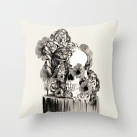 Life on a pedestal, floral skull Throw Pillow by Kristy Patterson Design