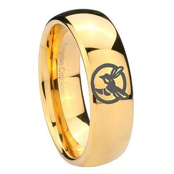 8MM Mirror Dome Honey Bee 14K Gold IP Tungsten Carbide Laser Engraved Ring
