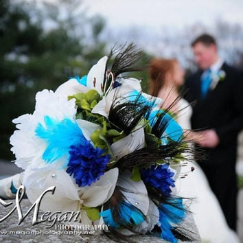 Peacock Feather Wedding Bouquet  - Custom Order