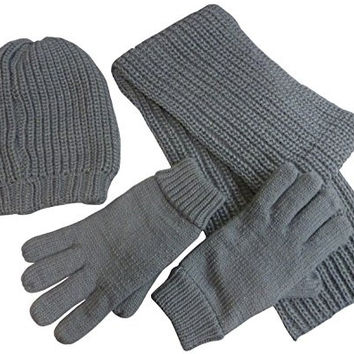 N'Ice Caps Mens Bulky Waffle Knit 3PC Set With Fleece Lining (One Size, Charcoal Grey)