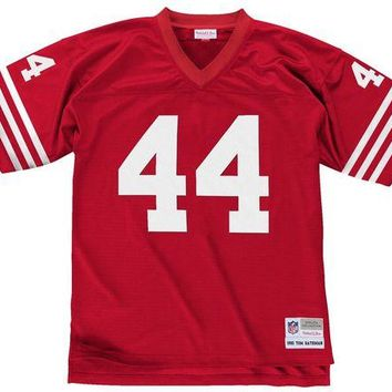 LMF8UH Mitchell & Ness Tom Rathman 1990 Replica Jersey San Francisco 49ers In Scarlet