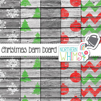 Christmas Barn Board Digital Paper Pack - red and green rustic wood scrapbook paper - Christmas patterns –shabby barn board – commercial use