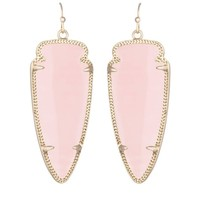 Skylar Earrings in Rose Quartz - Kendra Scott Jewelry