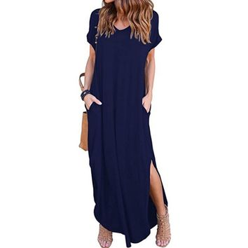 *Online Exclusive* Short Sleeve Maxi Dress with Slit and Pockets