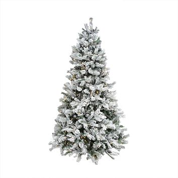 9' Pre-Lit Flocked Victoria Pine Multi-Function LED Artificial Christmas Tree - w/ Remote Control -Clear/Multi