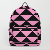 Graphic Geometric Pattern Minimal 2 Tone Infinity Triangles (Pastel Pink & Black) Backpacks by AEJ Design
