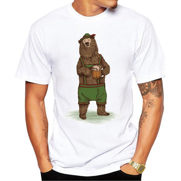 2017 Men Customized T-shirt Fashion Traditional German Bear Design Short sleeve men T Shirts Hipster Casual Tops