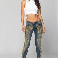 Destroyed Gold Beads Front Panel Jeans SP1083