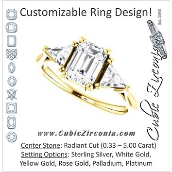 Cubic Zirconia Engagement Ring- The Prisma (Classic Three-Stone Triangle Accent and Radiant Cut center)
