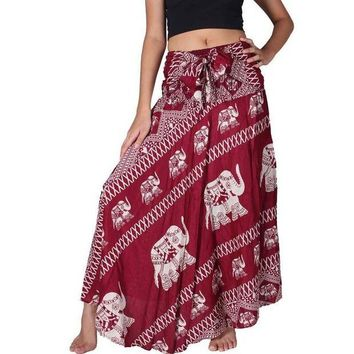ONETOW Women Bohemian Hippie Red Skirt Elephant Print 2017 Summer Beach Long Skirt Vintage Maxi Skirts High Waist Tie up Skirts
