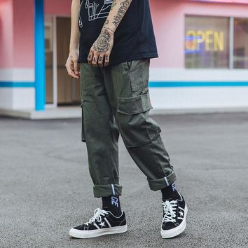Men Pocket Casual Cargo Pant American Retro Street Hip Hop Loose Overalls Pant Male Straight Trousers