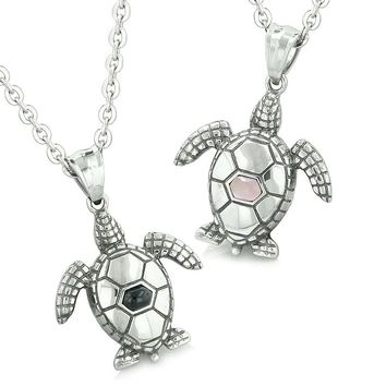 Amulets Love Couple or Best Friends Sea Turtles Lucky Charms Man Made Onyx Pink Cats Eye Necklaces