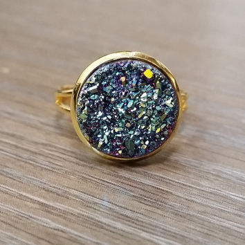 Druzy Ring- light teal titanium drusy Gold tone druzy ring