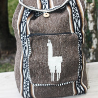 Peruvian Handmade tribal backpack  Brown