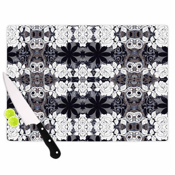 "Suzanne Carter ""Lacey"" Black Gray Cutting Board"