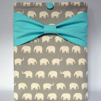 "Macbook Pro 15 Sleeve MAC Macbook 15"" inch Laptop Computer Case Cover Grey Elephant  with Aqua Bow"