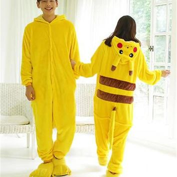 2016 Halloween Cosplay Pokemon Pikachu Costume For Adult Japan Anime Pikachu Flannel Sleepwear Unisex Pajamas