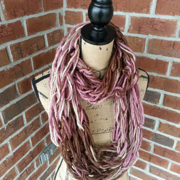 Wool Arm knitted infinity scarf, purple and pink metallic, lightweight scarf, knit scarf, infinity scarf, arm knit scarf, fall fashion scarf