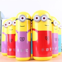 12 18 24 Colors Cartoon Box Water Color Pen Set Minions Brush Marker Highlighter for Kids Stationery Art Markers Supplies School