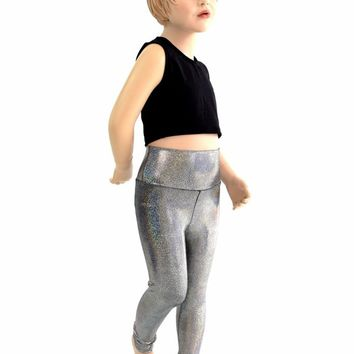 Kids Silver Holographic Leggings