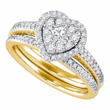 14kt Yellow Gold Womens Princess Diamond Heart Bridal Wedding Engagement Ring Band Set 3/4 Cttw
