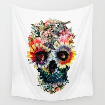 Floral Skull IV Wall Tapestry by RIZA PEKER