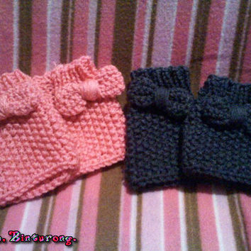 Seed Stitch Gloves w/Bow