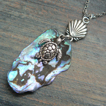 sea turtle necklace abalone necklace mermaid necklace