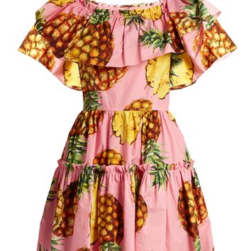 Pineapple-print ruffled-panel cotton dress | Dolce & Gabbana | MATCHESFASHION.COM UK
