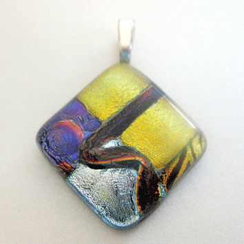 Dichroic Fused Glass Pendant Tijuana Sunrise by mysassyglass