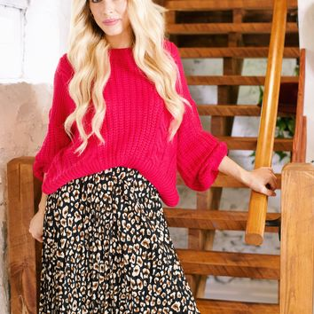 Lila Cable Knit Crop Sweater, Hot Pink