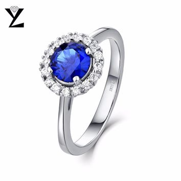 YL Round Cut Silver Engagement Rings for Women Men Couple Promise Wedding Fine Jewelry Accessories for Lovers Gift
