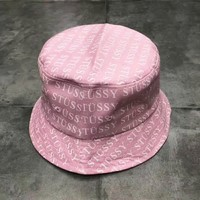 Stussy new fashion more letter print women and men cap Pink
