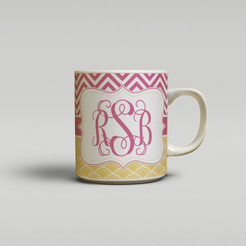 Pretty coffee mug, Raspberry chevron with gold clover, Monogram ceramic mug, Personalized print coffee mug,Tea mug Gift for co-worker (1297)