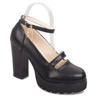 Retro Hollow Out and Chunky Heel Design Women's Pumps